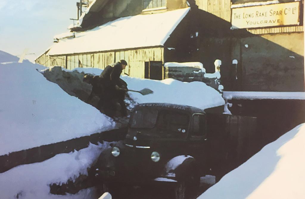 Loading in the Snow at Long Rake Spar in the 1960s
